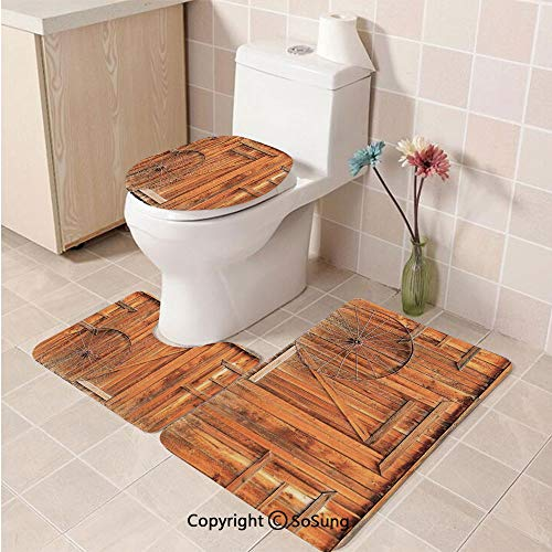 3pcs/Set Western Style Soft Comfort Flannel Toilet Mat,Ancient West Rural Town Rustic Weathered Wooden Wall Door Wagon Wheel in Front Image,Plush Bathroom Decor Mat with Non Slip Backing,Peru
