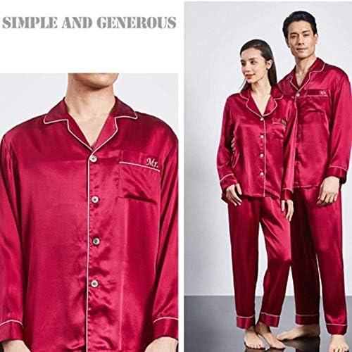 パジャマ男性、男性の家族パジャマ、カップルシルクSlimwear長袖2点セットレッド薄いパジャマ用パジャマパンツ (Size : XL)