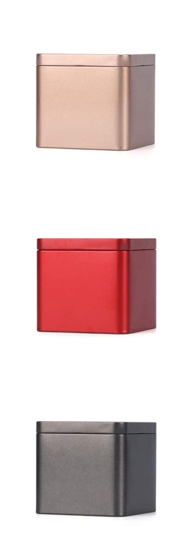 r/étro VEA-DE Bo/îte de rangement polyvalente Bo/îtes /à th/é en fer-blanc de couleur unie carr/é moyen or
