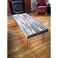 Barn wood coffee table -42x22- in a beautiful mosaic pattern - Industrial - Mid Century Modern - Rustic Zen - Vintage Steel Hairpin Legs