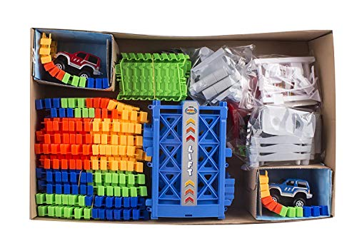87d0f2ec4a497 Race Car Track Set Toy Educational Twisted Flexible Tracks 240 Pcs 2 Cars  Toy with Lifter