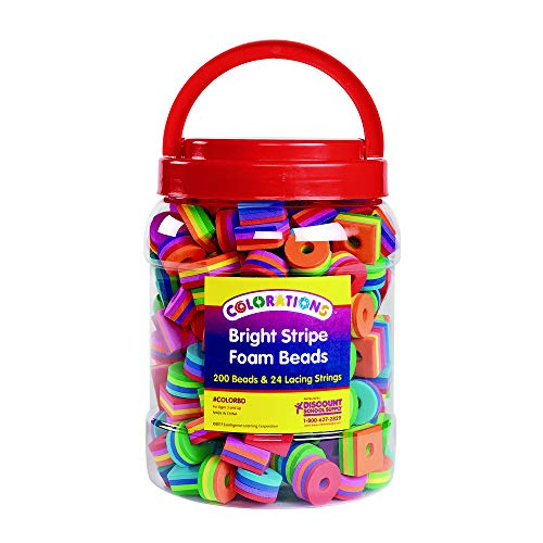 Colorations Bright Stripe Beads 200 Beads (Item # COLORBD) ()