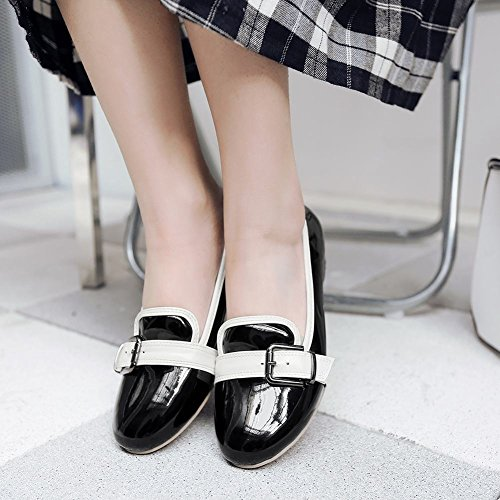 Latasa Para Mujer De Moda De Imitación De Charol De Cuero Con Tacón Grueso Slip Monk Strap Mocasines Zapatos Negro