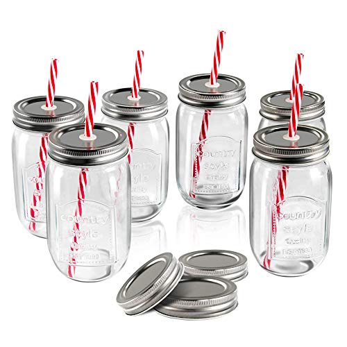Mastertop 6 Pcs 16.9 Ounce Mason Drinking Jars with Lids  Recycled Glass Bottles and Drinking Straws with 3 Extra Sealing Lid]()