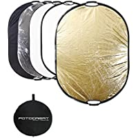 "FOTOCREAT 5-in-1 Oval 60""×80""(150×200cm) Professional Collapsible Multi-Disc Light Reflector with Handles with Translucent, Silver, Black, Gold, White surface for Photography Photo Studio"