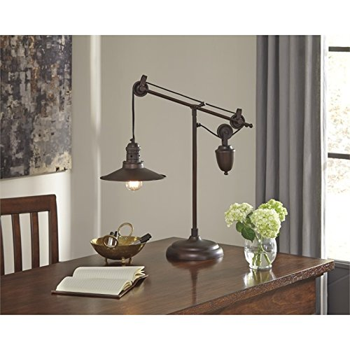 Signature Design by Ashley L734152 Adjustable Kylen Desk Lamp with Metal Shade with in-Line Switch, Bronze Finish by Signature Design by Ashley