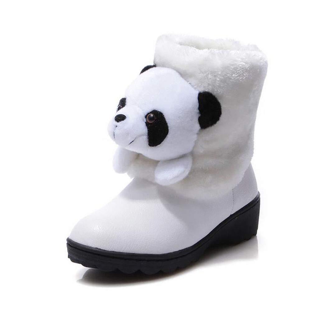 Hy Frauen Schnee Stiefel Winter Künstliche PU Warm Winddicht Snowproof Stiefelies/Mode Stiefel/Damen Flache Skifahren Schuhe (Farbe : Weiß, Größe : 35)