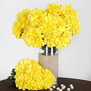 Efavormart 56 Large Chrysanthemum Mums Ballsfor DIY Wedding Bouquets Centerpieces Party Home Decorations – 4 Bushes – Yellow