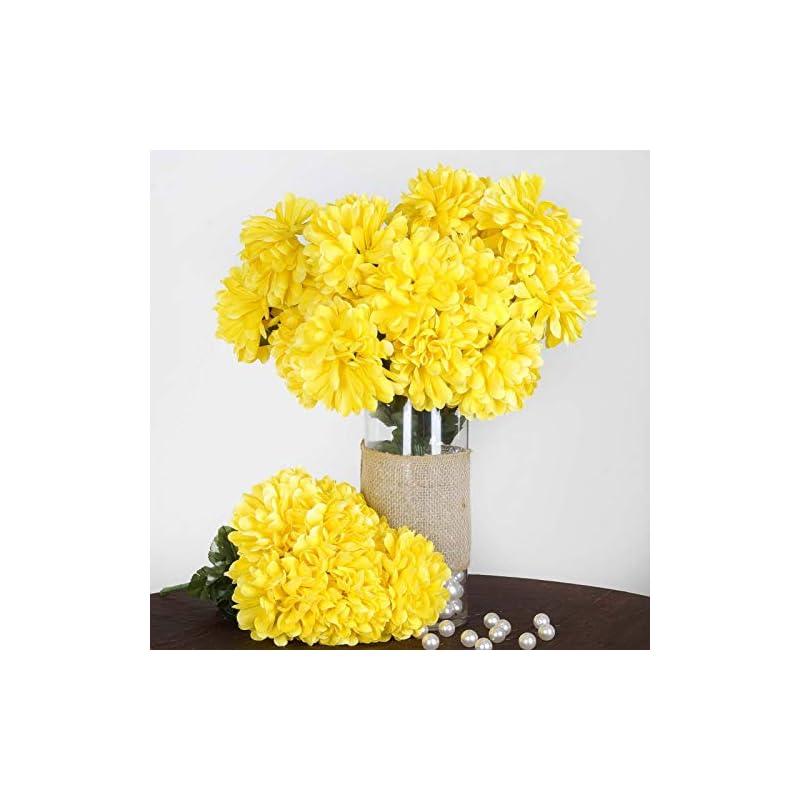 silk flower arrangements efavormart 56 large chrysanthemum mums ballsfor diy wedding bouquets centerpieces party home decorations - 4 bushes - yellow