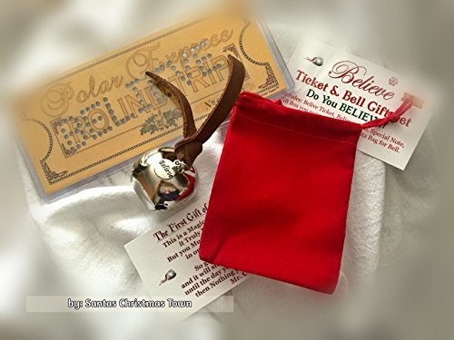 Polar Express BELIEVE Ticket & Bell GIFT SET by - Santa Red Velvet Harness