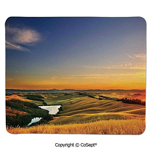 Premium-Textured Mouse pad,Magical Photo of Mediterranean Rural in The Valley with a Small Lake Europe Nature,for Laptop,Computer & PC (15.74
