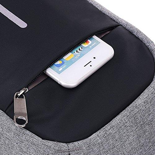 viaje deporte unisex bolsa bolsa Cargador small correa de bolsa gris con bolsa Super de extraíble Modern Nylon hombro antirrobo USB Puerto Smart bolsa Cruz mujer morado cuerpo a6WH5wq