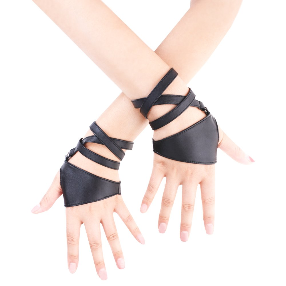 JISEN Women Half Palm Fingerless PU Leather Night Bar Band Up Punk Gloves Black