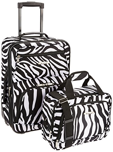 (Rockland Luggage 2 Piece Printed Luggage Set, Zebra, Medium)