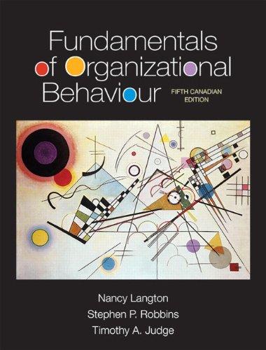 Organizational behaviour, third cdn edition by robert kreitner.