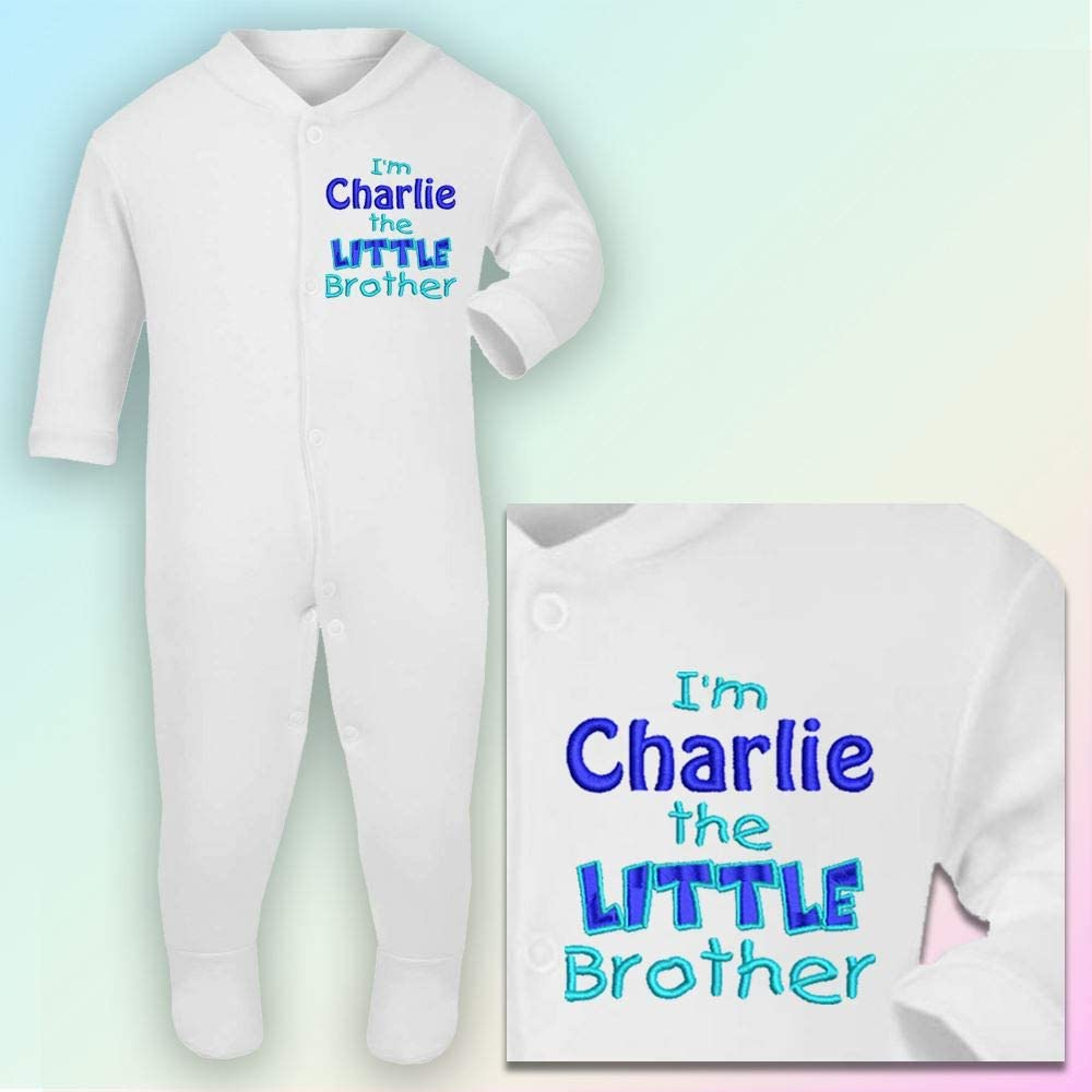 Black /& Red Thread Embroidered Sleepsuit in White 0-3 Months Im The Little Brother
