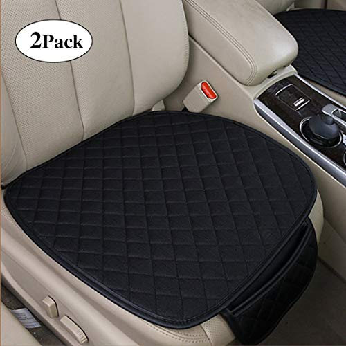 2pc Breathable Car Interior Seat Cover Cushion Pad Mat for Auto Supplies Office Chair with PU Leather Bamboo Charcoal (Black) ()