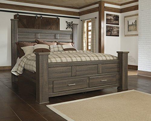 FurnitureMaxx Juararoy Casual Dark Brown Color Replicated Rough-Sawn Oak Bed Room Set, King Poster Storage Bed, Dresser, Mirror, Nightstand, Chest - bedroomdesign.us