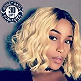 Human Hair Wigs Short Loose Wave Curly Lace Front WIgs with Baby Hair 1B/613 Color for Black Women (10'', lace frontal wig)