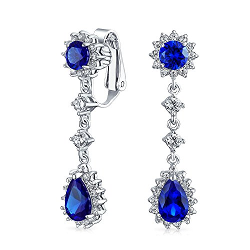 (Blue Teardrop Cubic Zirconia CZ Halo Crown Prom Statement Dangle Clip On Earrings Simulated Sapphire Silver Plated)