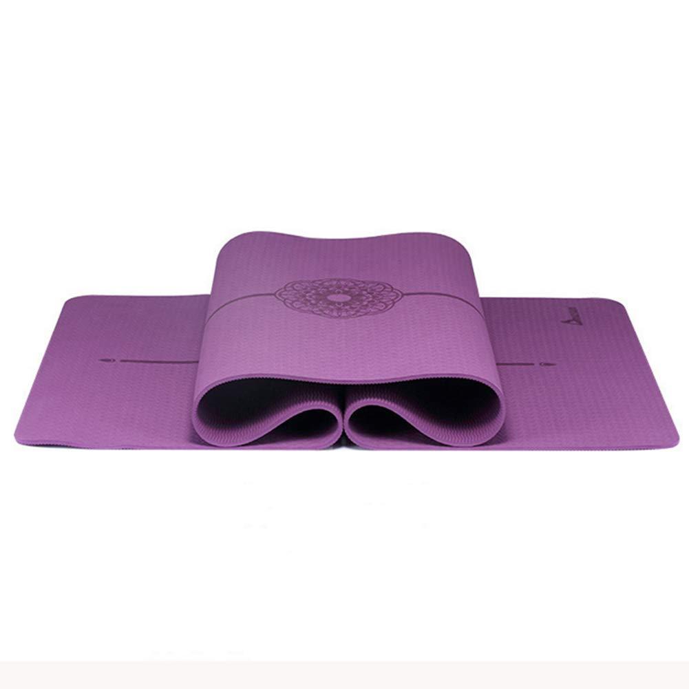 Cassiel Y Pilates Pad Yogamatte, 0.8cmTPE Umweltschutz Rutschfeste Fitnessmatte, Länge 183cm Breite 61cm,lila