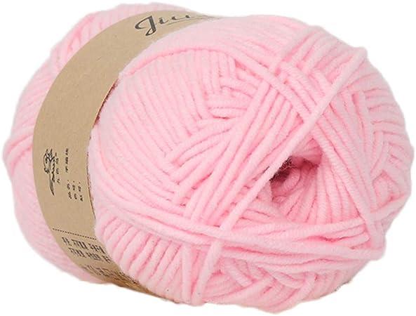 FiedFikt Hilo de algodón tejido a mano, 50 g lana de algodón de leche para bebé muy suave cálida gruesa tejida a mano bufanda sombrero tejer ganchillo de bebé lana,B 02: Amazon.es: