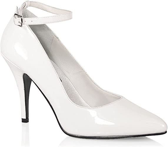 Womens 4 inch Heels White Pumps Ankle