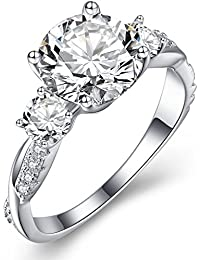 """Sterling Silver """"Twisted Vine"""" Round Three Stone Cubic Zirconia Engagement Rings for Women"""