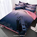 Seascape Girl's Room Cover Set King Size,Misty Lake Wooden Pier Distant Forest in Early Morning Fanta,Decorative 3 Piece Bedding Set with 2 Pillow Shams Lavender Navy Blue