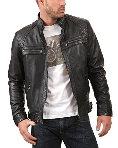 Laverapelle Men's Genuine Lambskin Leather Jacket (Black, Small, Polyester Lining) - 1501344