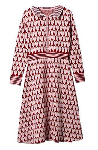 GenericWomen Generic Women Turn Down Collar Long Sleeve Embroidered Hit Color Knit Dresses Red S by GenericWomen