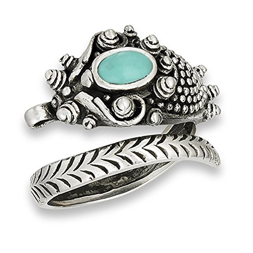 (Oxidized Dragon Simulated Turquoise Open Thumb Ring .925 Sterling Silver Band Size 12)