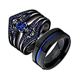 LOVERSRING Couple Ring Bridal Set His Hers Black Gold Plated Blue Agate Stainless Steel Wedding Ring