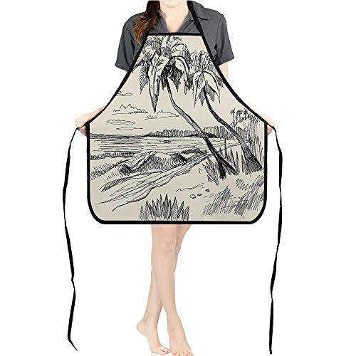 Jiahong Pan BBQ Apron COC ut Palm Tree Sandy Beach Exotic Oceanside View Cream Black for Delicious Barbecue Grill KitchenK26.6xG27.6xB10.2 ()