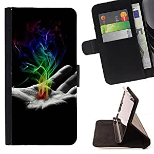 KingStore / Leather Etui en cuir / Samsung Galaxy S5 V SM-G900 / Mano de humo