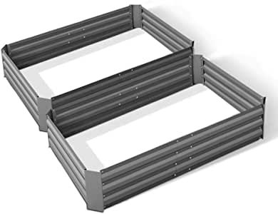 Greenfingers Metal Galvanised Raised Garden Bed, 120 x 90 x 30cm, Set of 2