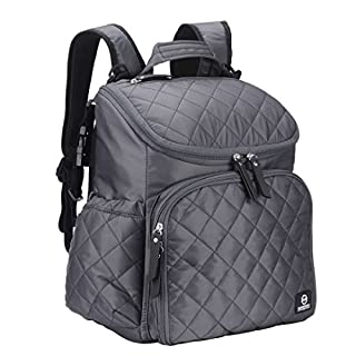 Diaper Bag with Stroller Straps and Wipeable Changing Pad by Maunsell | Travel Backpack, Changing Bag, Nappy Bag, Mommy Bag, Roomy Bag, for Baby Care | Large Capacity | Grey
