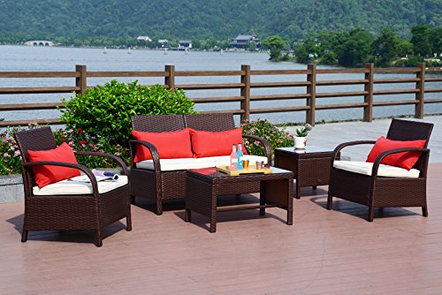 Cloud Mountain 5 PC Patio Wicker Rattan Sofa Set Conversation Sectional Cushioned Set Outdoor Furniture Love Seat Chair Glass Top Table, Cocoa Brown Rattan with Creamy White Cushions