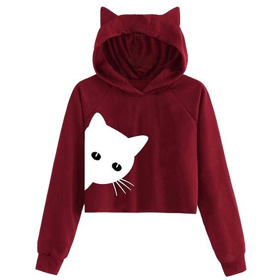 Luckycat Mujer Gato de Manga Larga Sudadera con Capucha Blusa Tops Jersey: Amazon.es: Ropa y accesorios