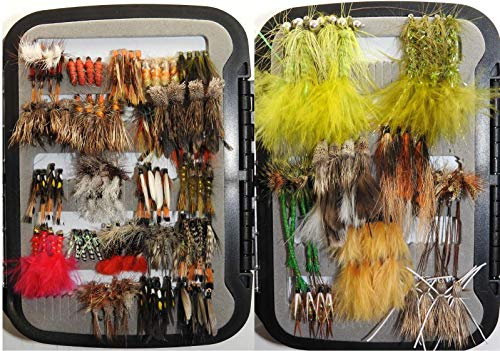 Bass and Trout Fly Assortment - Wet, Dry, Nymph, Streamer Flies Assortment (120 Flies with Box)