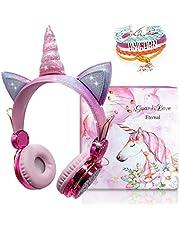 Eenhoorn Bluetooth hoofdtelefoon voor kinderen, draadloze kinderhoofdtelefoon, over-ear met 85 dB volumebegrenzing, meisjeshoofdtelefoon voor kinderen met microfoon en kabel, bluetooth 5.0, ingebouwde microfoon