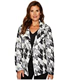 Two by Vince Camuto Women's Broken Houndstooth Faux Fur Coat Rich Black Small
