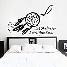 Wall Decal Decor Dream Catcher Wall Decal Native American Feathers Bedroom Wall Sticker (Small, Black)