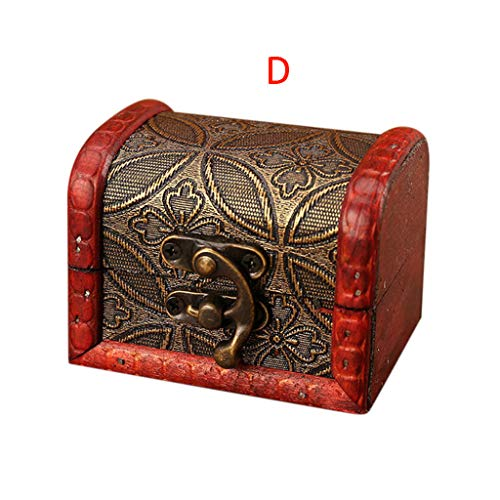 2019 Best Gift!!! Cathy Clara Jewelry Box Vintage Wood Handmade Box with Mini Metal Lock for Storing Jewelry Treasure Pearl (Best Turkey Box Call 2019)
