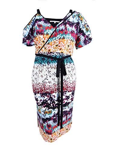 RACHEL Rachel Roy Women's Floral Asymmetrical Draped Dress, Ivory/Multi Combo, 12 from RACHEL Rachel Roy