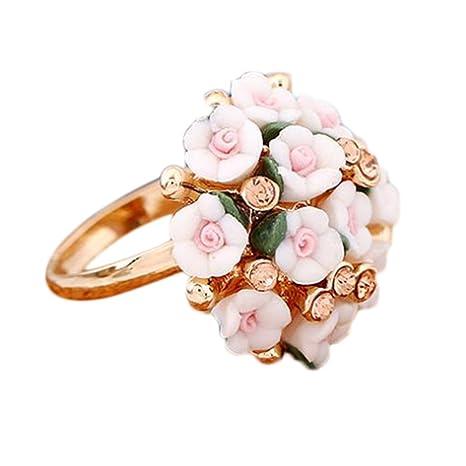 selección premium 99f77 6b144 scrox Cherry Blossom anillo flor anillos cerámica flores y ...