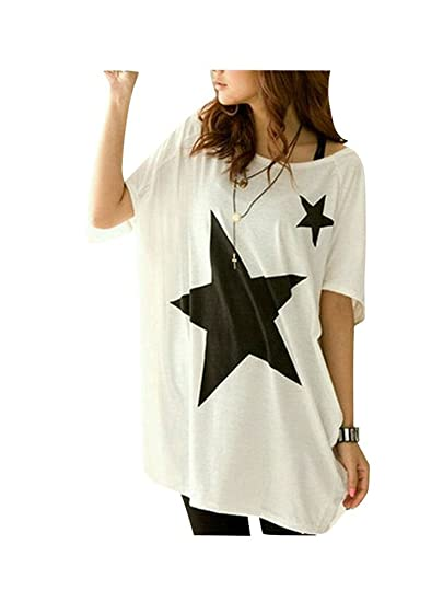 Blusa Verano Mujer 2017 Camisa Manga Murcielago Camiseta Estampada Estrella Cuello Redondo T-shirt Manga