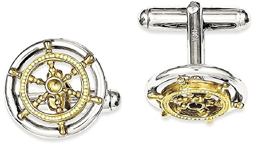 ICE CARATS 925 Sterling Silver Vermeil Sailor Wheel Cuff Links Mens Cufflinks Man Link Fine Jewelry Dad Mens Gift Set by ICE CARATS (Image #1)