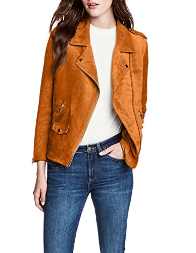 Richlulu Womens Classical Warm Imitation Suede Bomber Biker Jacket(XL,Camel)