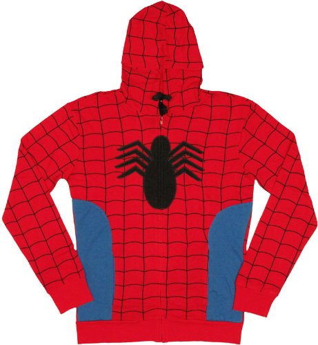 [Marvel Comics Mens Spiderman Costume Hoodie Spidey Suit On (2XL)] (High Quality Spiderman Suit)